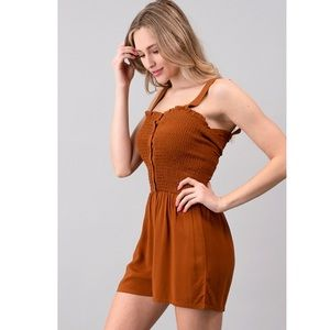 NWOT FRONT BUTTON SMOKING ROMPER